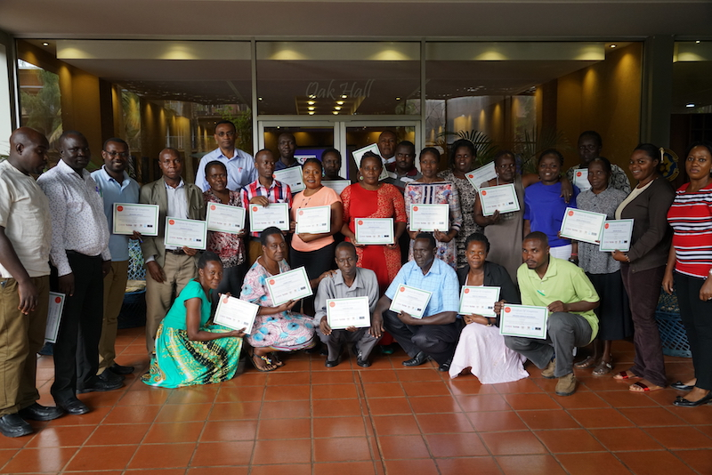 Participants with their training certificates